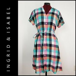 Ingrid & Isabel Women Plaid Check Maternity Dress